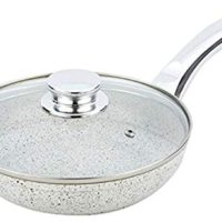 Bisetti BT-38313 Non-Stick Aluminum Stonewhite Frying Pan with Lid and Handle, Small, White
