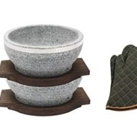 Natural Stone Dolsot Bibimbap Bowls, 32-Oz (Two Wood base + A pair of Cooking Gloves), Set of 2,Cooking Korean Soup and Food.