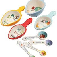 The Pioneer Woman Willow 8 Piece Measuring Scoops and Spring Floral Ceramic Measuring Spoons Set