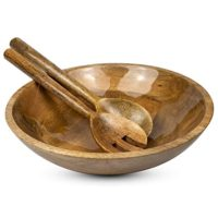 Wooden Salad Bowl Set with Servers - 12 Inch x 3 inch Mango Wood Bowl with Spoons for Soups, Fruit, Pasta and Mixed Salads | Water Resistant Enamel Lined Serving Bowl Set