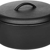 AmazonBasics Pre-Seasoned Cast Iron Dutch Oven Pot with Lid and Dual Handles, 7-Quart