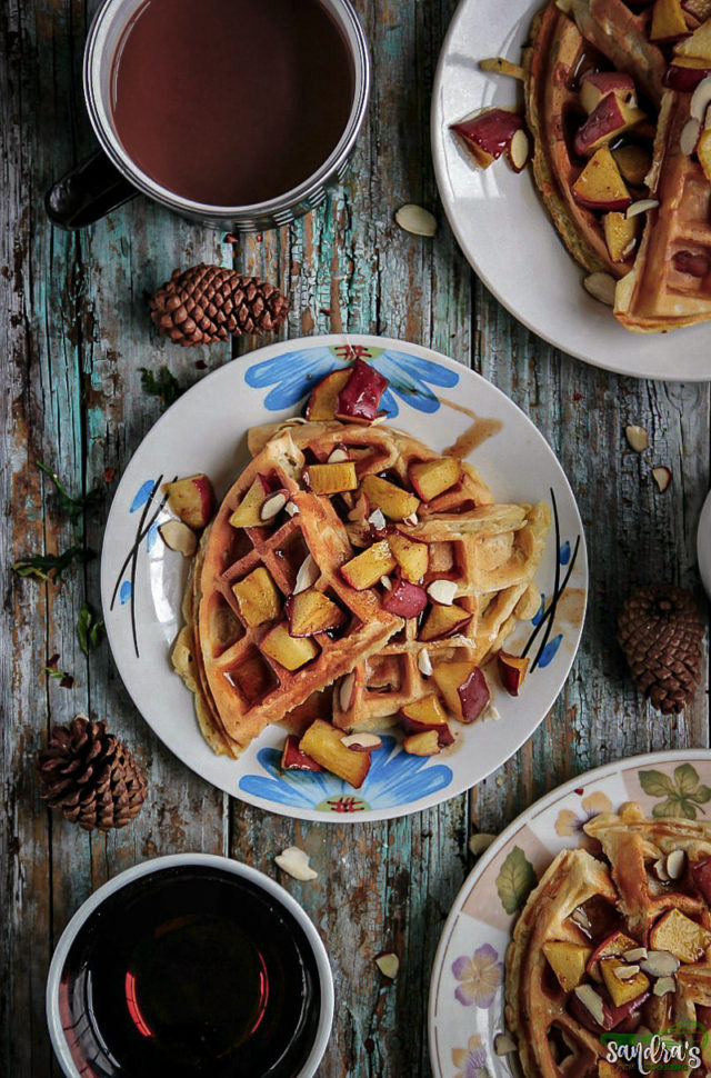 Apple Cinnamon Waffles with Apple Compote