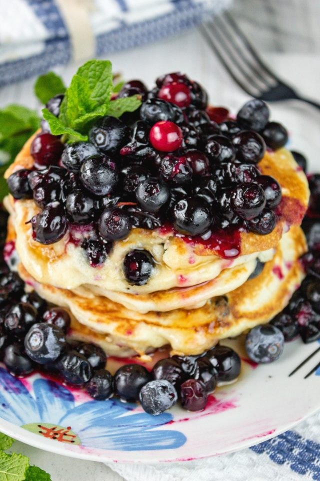 Fluffy Cream Cheese Blueberry Pancakes