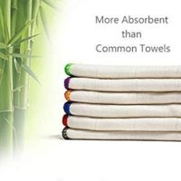 100% Bamboo Kitchen Dish Cloths (6pcs-Pack,1 Pack) White Washcloths Dish Towels,Dish Rags(12 x 12 Inch), Ultra Absorbent Better Than Cotton