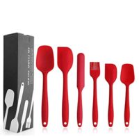 Silicone Spatula Set - 6 Piece Non-Stick Rubber Spatula Set with Stainless Steel Core - Heat-Resistant Spatula Kitchen Utensils Set for Cooking, Baking and Mixing - Red
