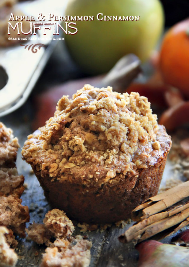 Apple and Persimmon Cinnamon Muffins