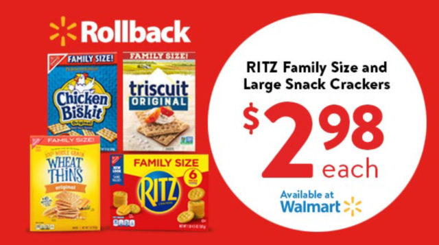 Rollback offer at Walmart Family Size RITZ crackers