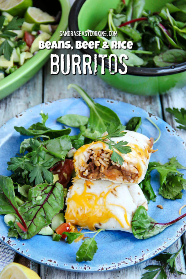 Beans, Beef and Rice Burritos