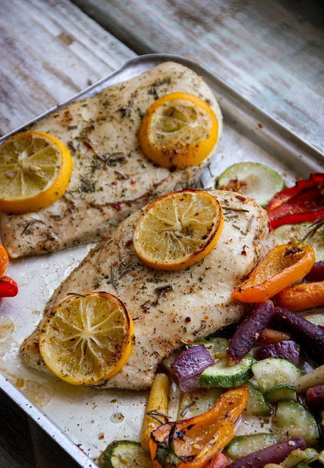Lemon Herbs Chicken and Veggies Sheet Pan