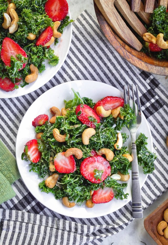 Massaged Kale and Strawberry Salad