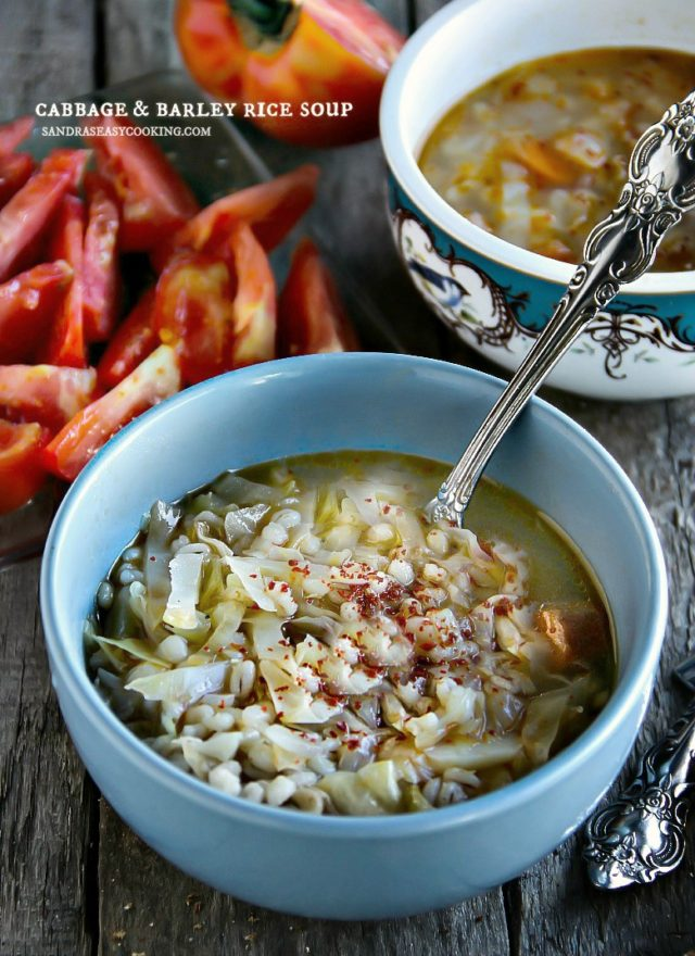 Cabbage and Barley Rice Soup