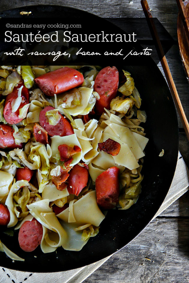 Sautéed Sauerkraut with Sausage and Pasta