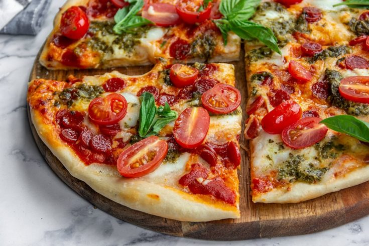 Pepperoni and Burrata Pizza with Pesto