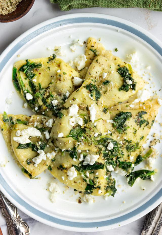 Ravioli Sautéed with Spinach