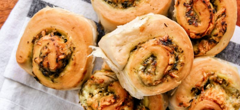 Basil Pesto and Cheese Rolls