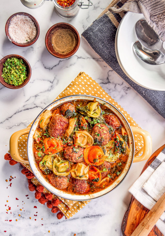 Tortellini Soup with Italian Sausage Meatballs