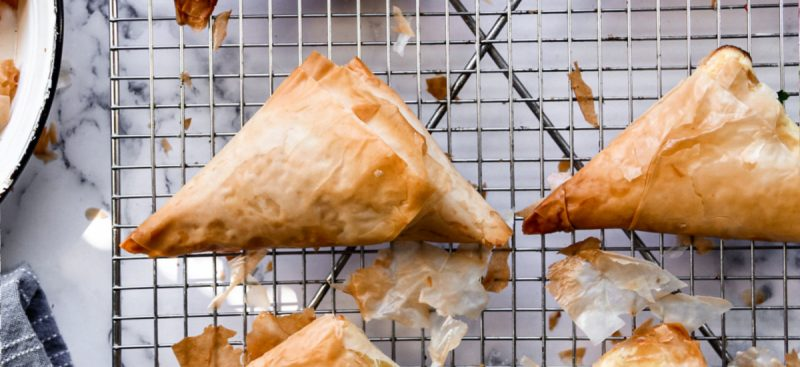 Phyllo Triangles Stuffed with Cheese