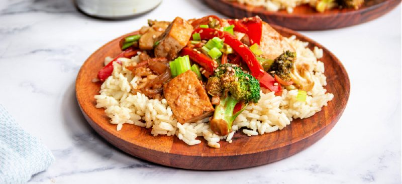 Tofu and Veggie Stir-Fry with Peanut Butter Sauce