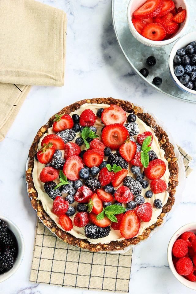No Bake Sweet Fruit Pizza
