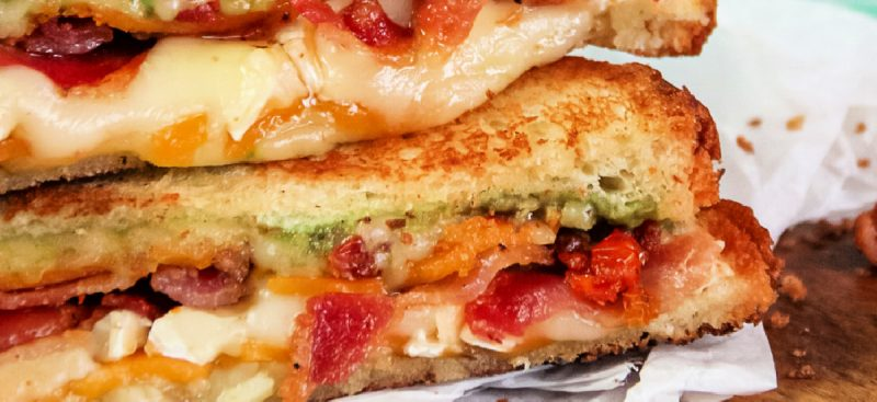 Grilled Cheese Bacon and Creamy Avocado Sandwich
