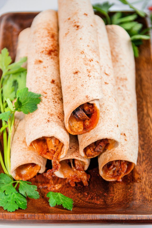 Air Fryer Mushroom and Cheese Taquitos