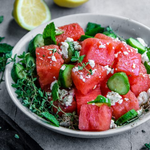 Watermelon, Cucumber, and Feta Salad