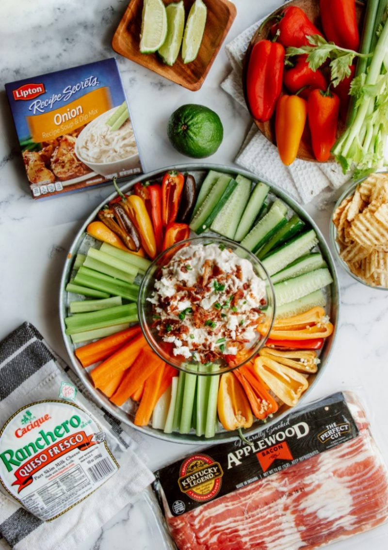 Onion Dip with Cheese and Bacon